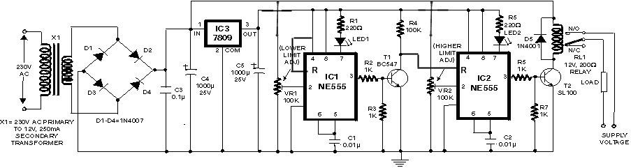 مدار حفاظت اضافه ولتاژ با استفاده از تایمرها